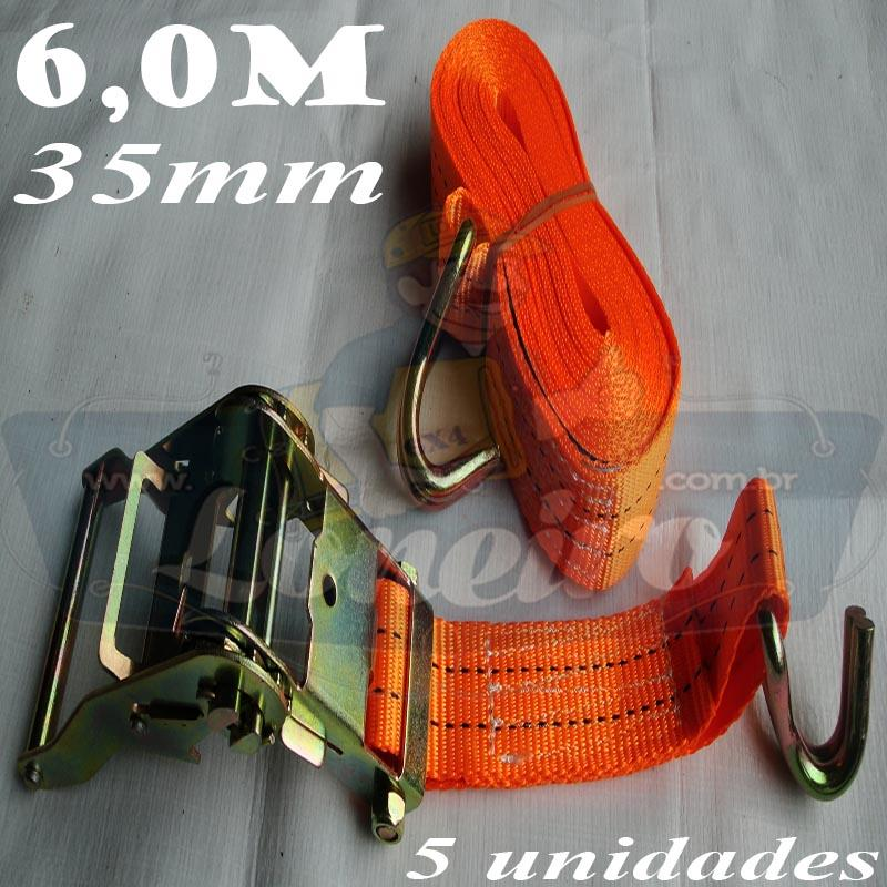 Catraca com Cinta de amarração cor Laranja 35mm x 6 metros para 2000kg/força - 5 unidades