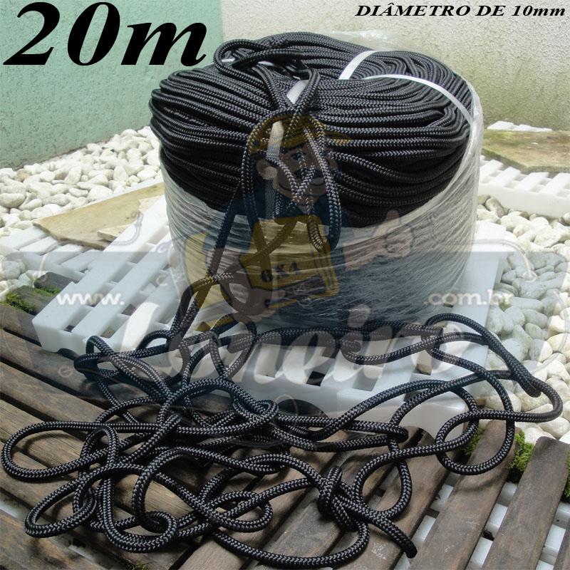 Corda de Amarração 20 metros Trançada Poliester Estática Preta 10mm Carga de ruptura de 1500 kgf/m