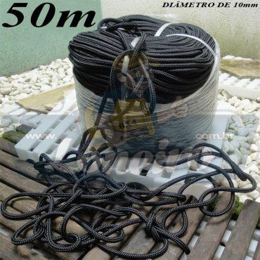 Corda de Amarração 50 metros Trançada Poliester Estática Preta 10mm Carga de ruptura de 1500 kgf/m