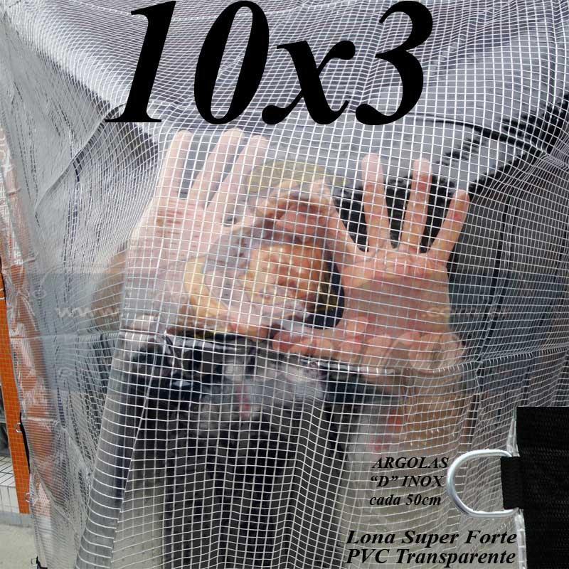 """Lona: 10,0 x 3,0m PVC Premium Crystal Vinil Transparente Impermeável AntiChamas com argolas """"D"""" INOX a cada 50cm"""