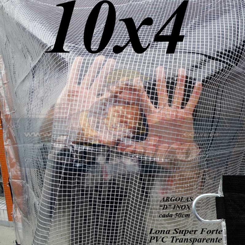Lona: 10,0 x 4,0m PVC Premium Crystal Vinil Transparente AntiChamas com 40 Extensores LonaFlex Gancho 25cm