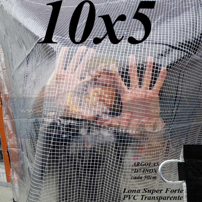 """Lona: 10,0 x 5,0m PVC Premium Crystal Vinil Transparente Impermeável AntiChamas com argolas """"D"""" INOX a cada 50cm"""