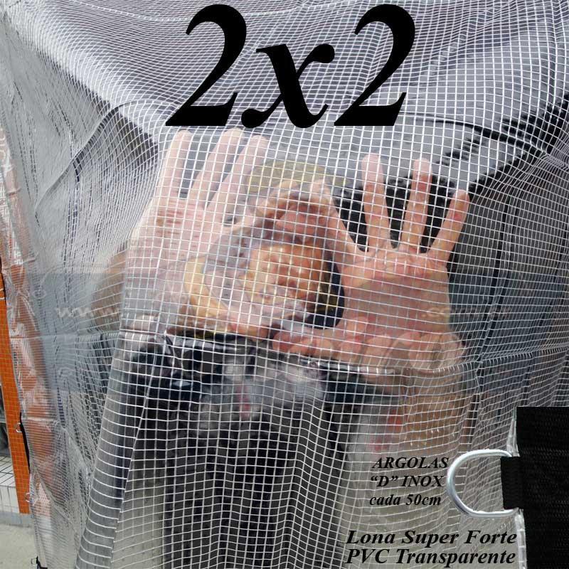 Lona 2,0 x 2,0 m Transparente Crystal Super PVC Vinil 700 Micras com Tela de Poliéster Impermeável + 10 LonaFlex Gancho de 25cm