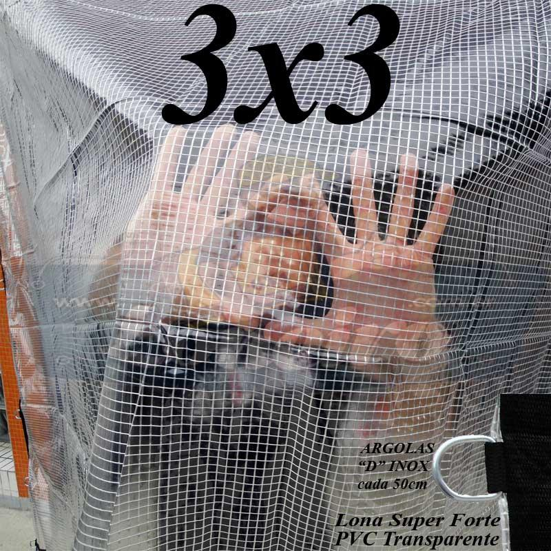 Lona 3,0 x 3,0 m Transparente Crystal Super PVC Vinil 700 Micras com Tela de Poliéster Impermeável + 14 LonaFlex Gancho de 25cm