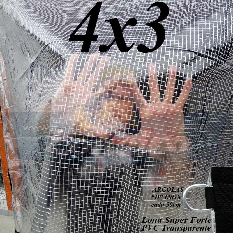 Lona 4,0 x 3,0 m Transparente Crystal Super PVC Vinil 700 Micras com Tela de Poliéster Impermeável + 16 LonaFlex Gancho de 25cm