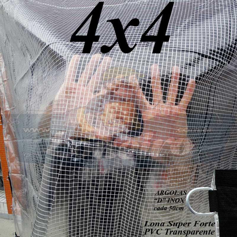 """Lona 4,0 x 4,0m PVC Premium Crystal Vinil Transparente AntiChamas com argolas """"D"""" INOX a cada 50cm + cinta reforçada"""
