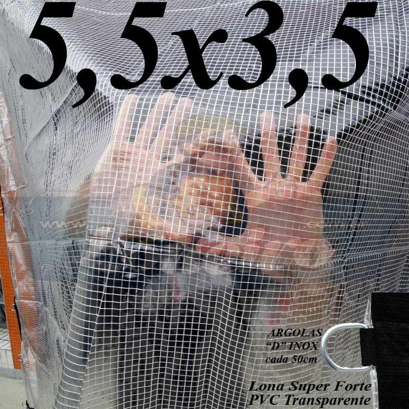 Lona 5,5 x 3,5m PVC Premium Crystal Vinil Transparente AntiChamas com 25 Extensores LonaFlex Gancho 25cm