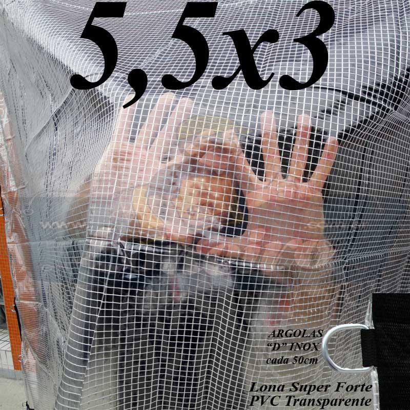 Lona 5,5 x 3,0m PVC Premium Crystal Vinil Transparente AntiChamas com 20 Extensores LonaFlex Gancho 25cm