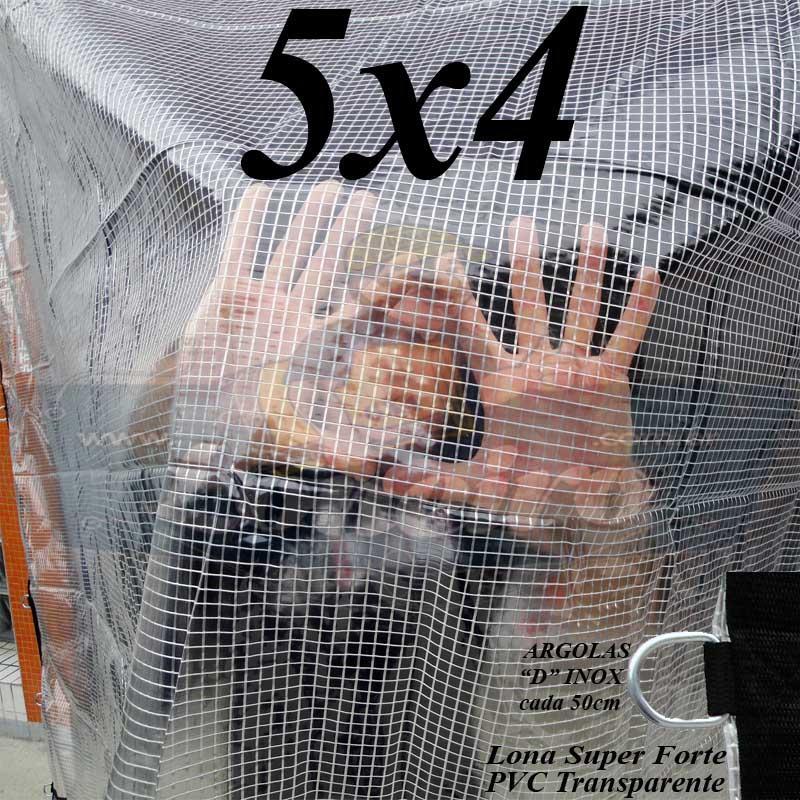 Lona 5,0 x 4,0m PVC Premium Crystal Vinil Transparente AntiChamas com 20 Extensores LonaFlex Gancho 25cm