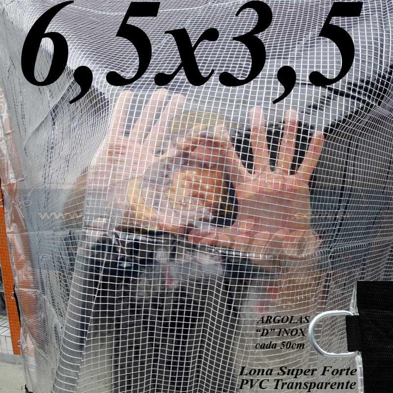Lona 6,5 x 3,5m PVC Premium Crystal Vinil Transparente AntiChamas com 25 Extensores LonaFlex Gancho 25cm