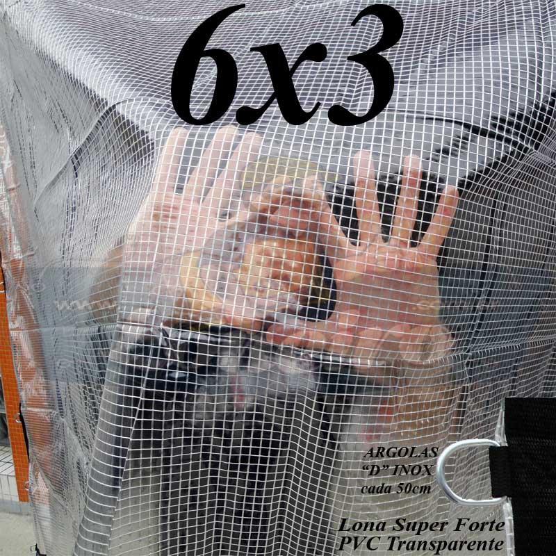 Lona 6,0 x 3,0m PVC Premium Crystal Vinil Transparente AntiChamas com 25 Extensores LonaFlex Gancho 25cm