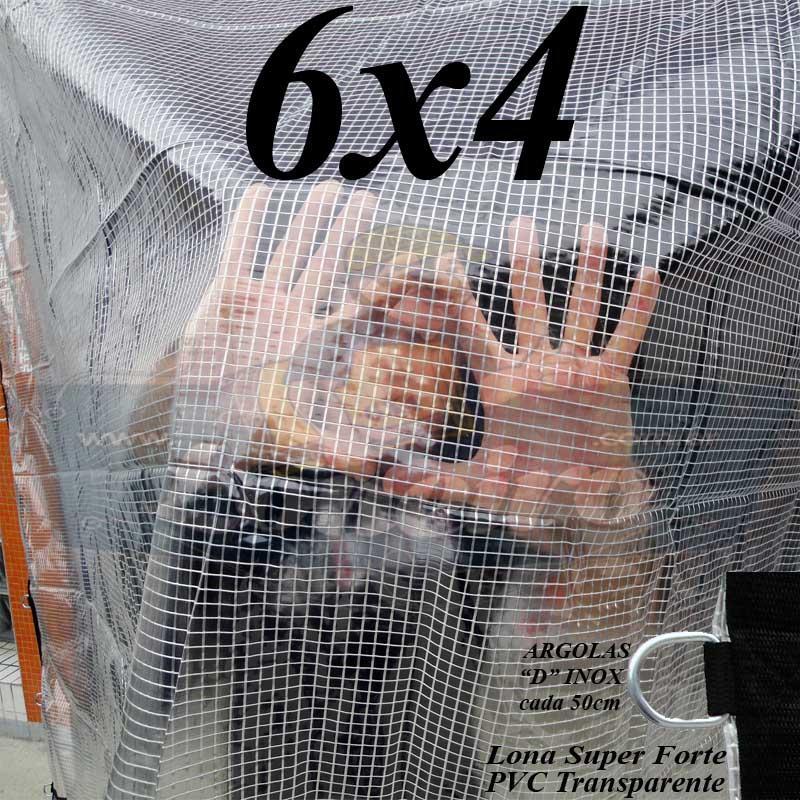 Lona 6,0 x 4,0m PVC Premium Crystal Vinil Transparente AntiChamas com 25 Extensores LonaFlex Gancho 25cm