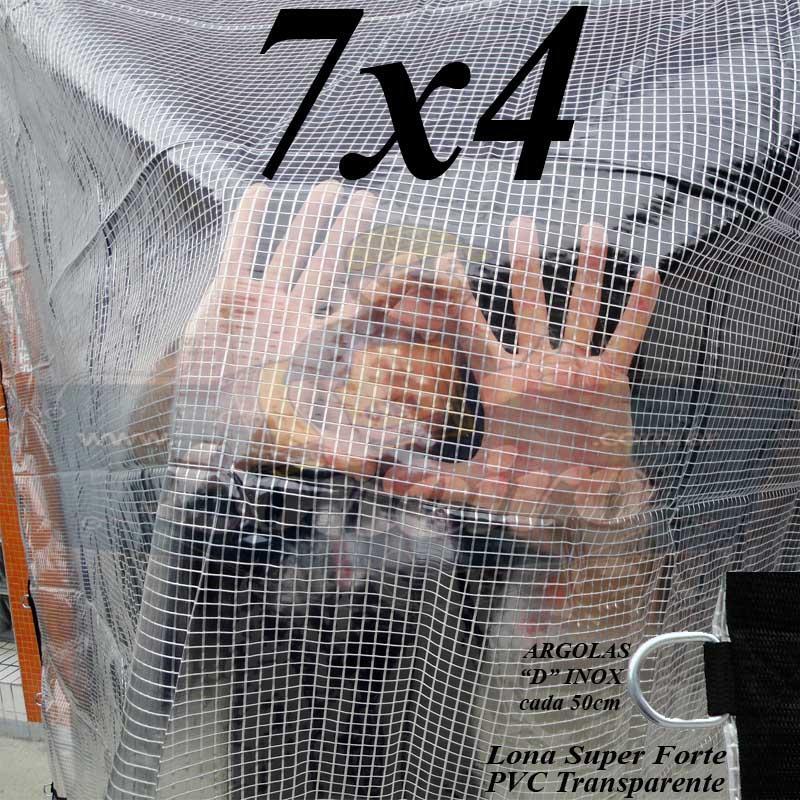 Lona 7,0 x 4,0m PVC Premium Crystal Vinil Transparente AntiChamas com 30 Extensores LonaFlex Gancho 25cm