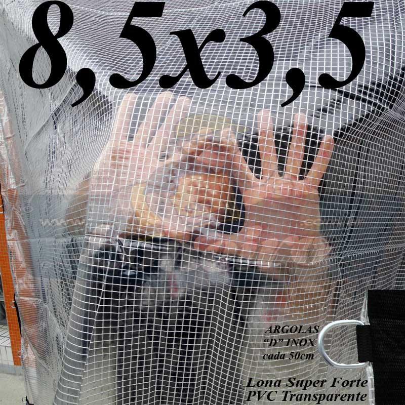 Lona 8,5 x 3,5m PVC Premium Crystal Vinil Transparente AntiChamas com 30 Extensores LonaFlex Gancho 25cm