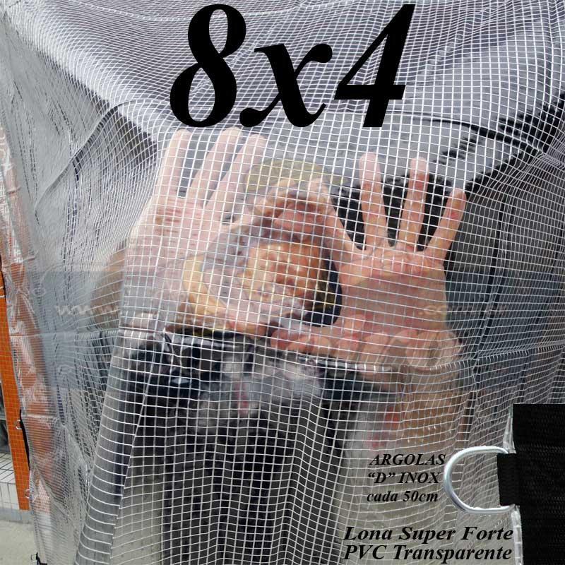 Lona 8,0 x 4,0m PVC Premium Crystal Vinil Transparente AntiChamas com 30 Extensores LonaFlex Gancho 25cm