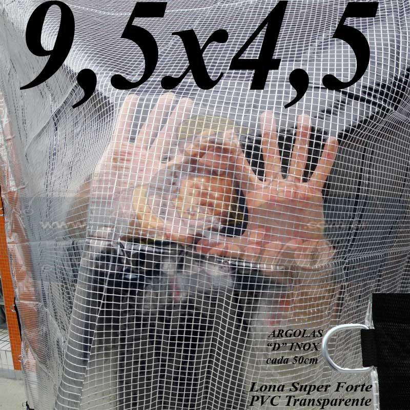 Lona 9,5 x 4,5m PVC Premium Crystal Vinil Transparente AntiChamas com 35 Extensores LonaFlex Gancho 25cm