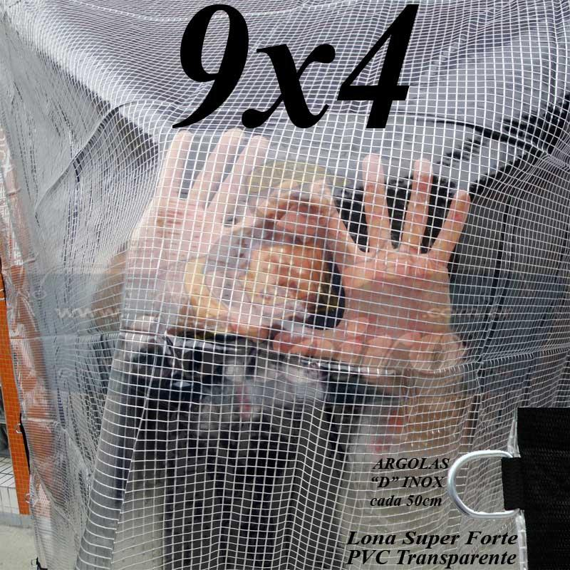 Lona 9,0 x 4,0m PVC Premium Crystal Vinil Transparente AntiChamas com 35 Extensores LonaFlex Gancho 25cm