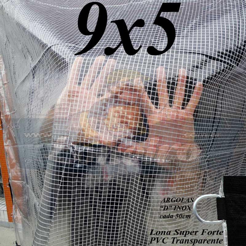 Lona 9,0 x 5,0m PVC Premium Crystal Vinil Transparente AntiChamas com 35 Extensores LonaFlex Gancho 25cm
