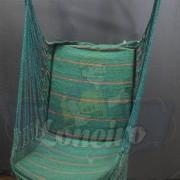 Cadeira Rede De Descanso Verde Escuro Modelo Poltrona Suspensa de Balanço Artesanal de Algodão Macio para Dormir Relaxar em Casa Quintal Jardim Árvore