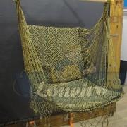 Cadeira Rede De Descanso Dourada com Preto Modelo Poltrona Suspensa de Balanço Artesanal de Algodão Macio para Dormir Relaxar em Casa Quintal Jardim Árvore