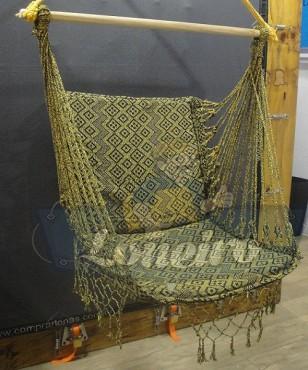 Cadeira De Descanso Dourada com Preto Modelo Suspensa de Balanço Artesanal de Algodão Macio para Dormir Relaxar em Casa Quintal Jardim Árvore