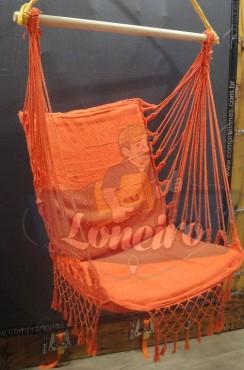 Cadeira Rede De Descanso Laranja Modelo Poltrona Suspensa de Balanço Artesanal de Algodão Macio para Dormir Relaxar em Casa Quintal Jardim Árvore