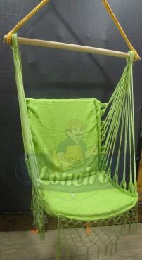 Cadeira De Descanso Verde Claro Modelo Poltrona Suspensa de Balanço Artesanal de Algodão Macio para Dormir Relaxar em Casa Quintal Jardim Árvore