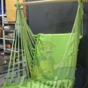 Cadeira Rede De Descanso Verde Claro Modelo Poltrona Suspensa de Balanço Artesanal de Algodão Macio para Dormir Relaxar em Casa Quintal Jardim Árvore