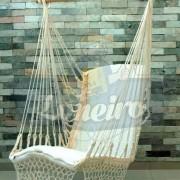 Cadeira Rede De Descanso Algodão Cru Natural Modelo Poltrona Suspensa de Balanço Artesanal Macia para Dormir Relaxar em Casa Quintal Jardim Árvore