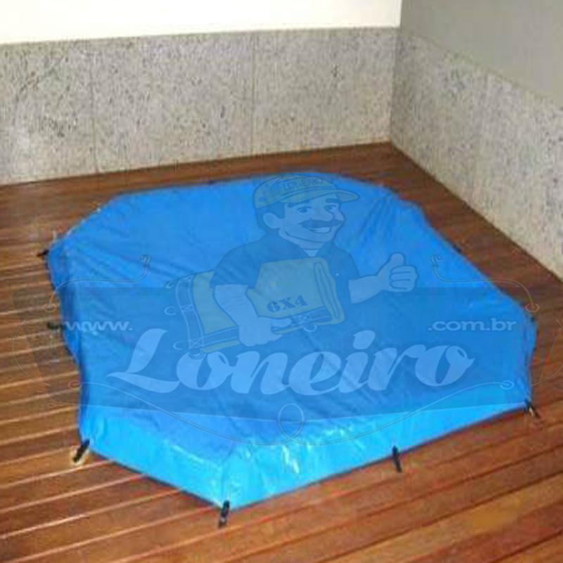 Capa de Piscina 2,0 x 2,0m Azul 300 Micras + 8 el 20cm e 8 pino bucha latão