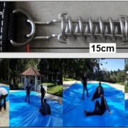 Capa para Piscina Super: 30,0 x 10,0m PE/PE Azul - Cinza Lona Térmica Cobertura Premium +156m+156p + 26 pet-bóias