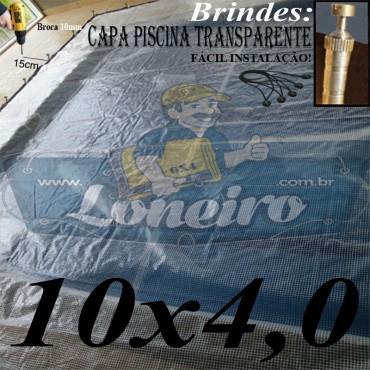 Capa de Piscina: 10,0 x 4,0m Transparente 400 Micras + 60 el 20cm , 60 pinos e 3 bóias para escoamento d