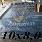 Capa de Piscina: 10,0 x 8,0m Transparente 400 Micras + 90 el 15cm , 90 pinos e 4 bóias para escoamento d