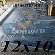 Capa de Piscina: 12,0 x 10,0m Transparente 400 Micras + 100 el 20cm , 100 pinos e 5 bóias para escoamento d