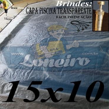 Capa de Piscina: 15,0 x 10,0m Transparente 400 Micras + 100 el 20cm , 100 pinos e 6 bóias para escoamento d