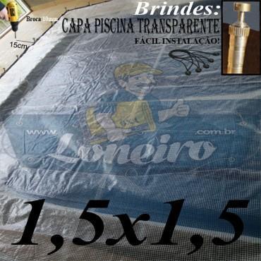 Capa de Piscina 1,5 x 1,5m Transparente 400 Micras + 10 el 20cm e 10 pino bucha latão