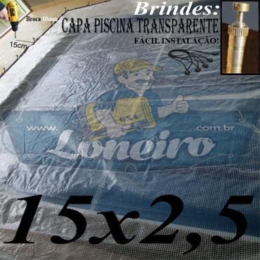 Capa de Piscina: 15,0 x 2,5m Transparente 400 Micras + 60 el 20cm , 60 pinos e 4 bóias para escoamento d