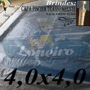 Capa de Piscina 4,0 x 4,0m Transparente 400 Micras + 24 el 20cm , 24 pinos e 1 bóia para escoamento d