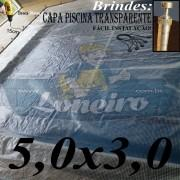Capa de Piscina 5,0 x 3,0m Transparente 400 Micras + 22 el 20cm , 22 pinos e 1 bóia para escoamento d