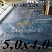 Capa de Piscina 5,0 x 4,0m Transparente 400 Micras + 30 el 20cm , 30 pinos e 2 bóias para escoamento d