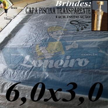 Capa de Piscina 6,0 x 3,0m Transparente 400 Micras + 28 el 20cm , 28 pinos e 2 bóias para escoamento d' água da chuva