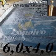 Capa de Piscina 6,0 x 4,0m Transparente 400 Micras + 36 el 20cm , 36 pinos e 2 bóias para escoamento d