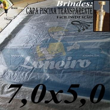 Capa de Piscina 7,0 x 5,0m Transparente 400 Micras + 50 el 20cm , 50 pinos e 2 bóias para escoamento d