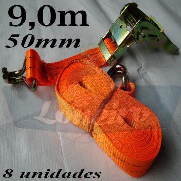 Catraca com Cinta de amarração cor Laranja 50mm x 9,0 metros para 3000kg/força cada - Kit com 8 unidades