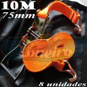 Catraca com Cinta de amarração cor Laranja 75mm x 10,0 metros para 5000kg/força cada - 8 unidades