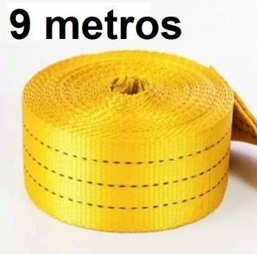 Cinta Avulsa 9 metros Amarela com Alça em uma das pontas para Slackline Suporta 3000kg ou 3 Ton de força