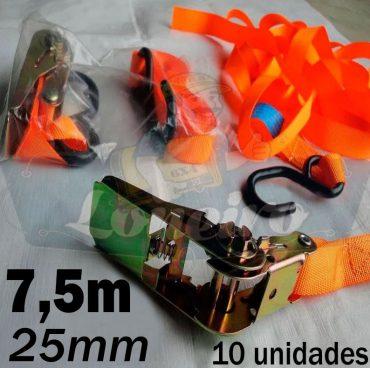 Catraca com Cinta de amarração cor Laranja 25mm x 7,5 metros para 500kg/força cada - 10 unidades