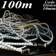 Corda Elástica de Borracha: 100 metros x 10mm Azul / Branco com terminal gancho cabeça dupla cor preto bicromatizado nas duas pontas