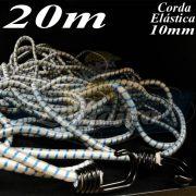Corda Elástica de Borracha 20 metros x 10mm Azul / Branco com terminal gancho cabeça dupla cor preto bicromatizado nas duas pontas