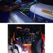 Corda Elástica Aranha 4 cordas de 1,5 metros ( 8 pernas ) x 10mm de Borracha Azul / Branco com gancho cabeça dupla bicromatizado nas pontas